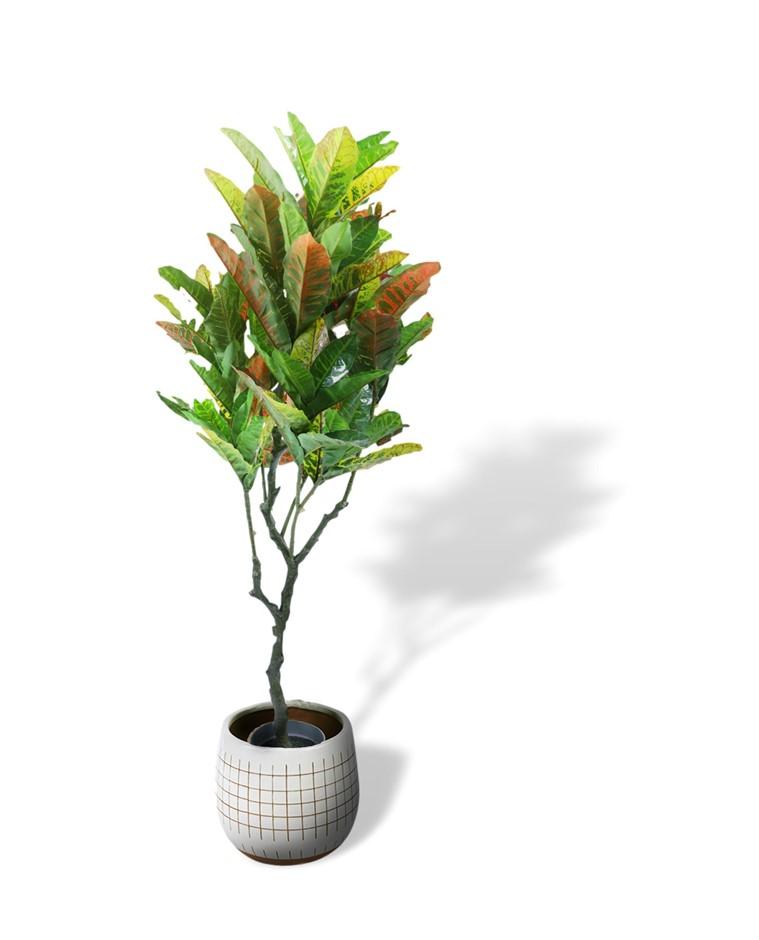 125cm Faux Artificial Potted Codiaeum Variegatum/Croton Plant Home Décor