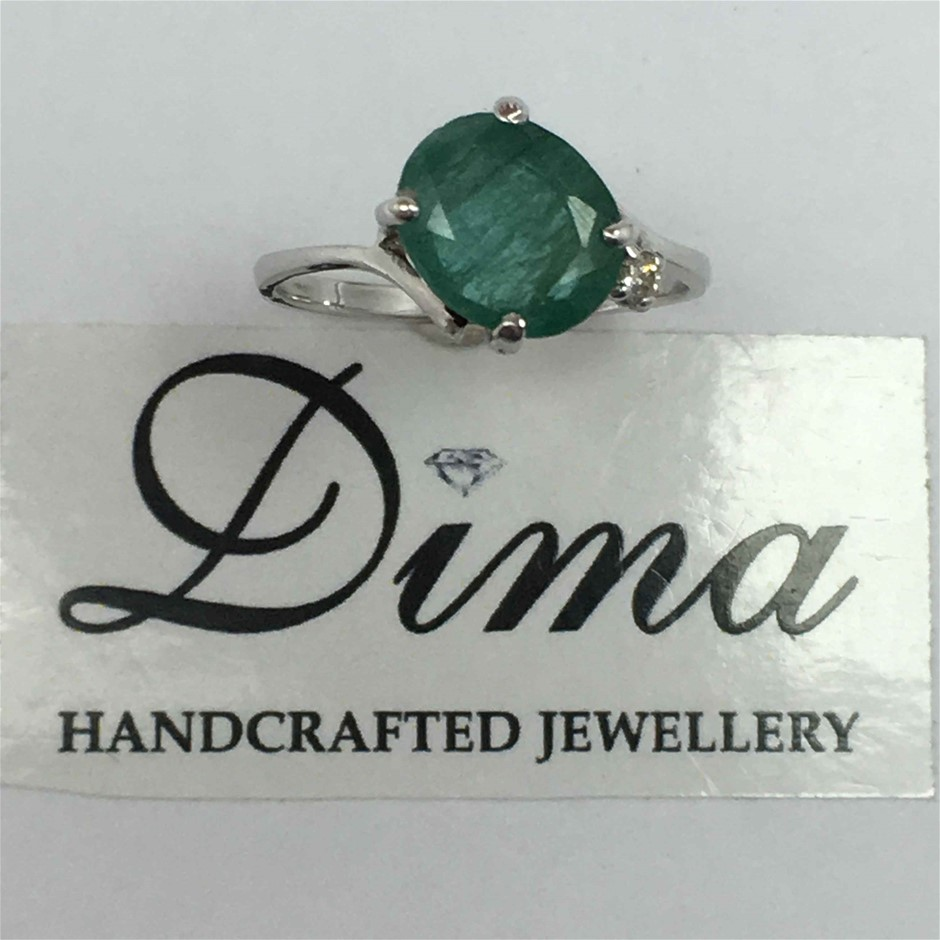 9ct White Gold, 2.42ct Emerald and Diamond Ring
