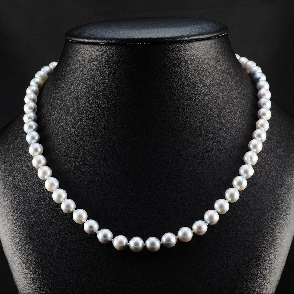 9ct White Gold, 29.50gm Pearl Necklace