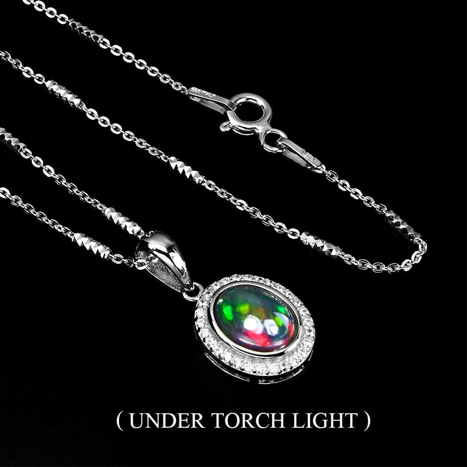Genuine Rainbow Full Flash Opal Pendant Necklace.