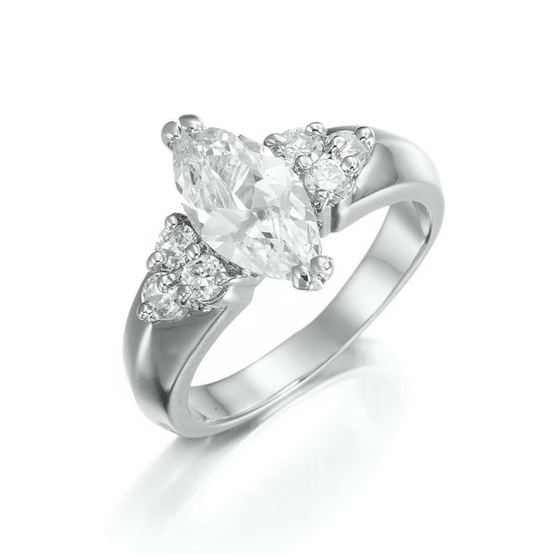 Stunning Rhodium Layered Simulated Diamond Ring - US Size 6