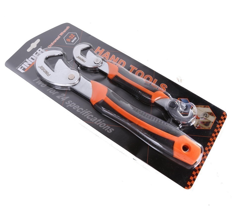 FINDER 2pc Universal Wrench Set, Size: 9-32mm, Carbon Steel with PVC Handle