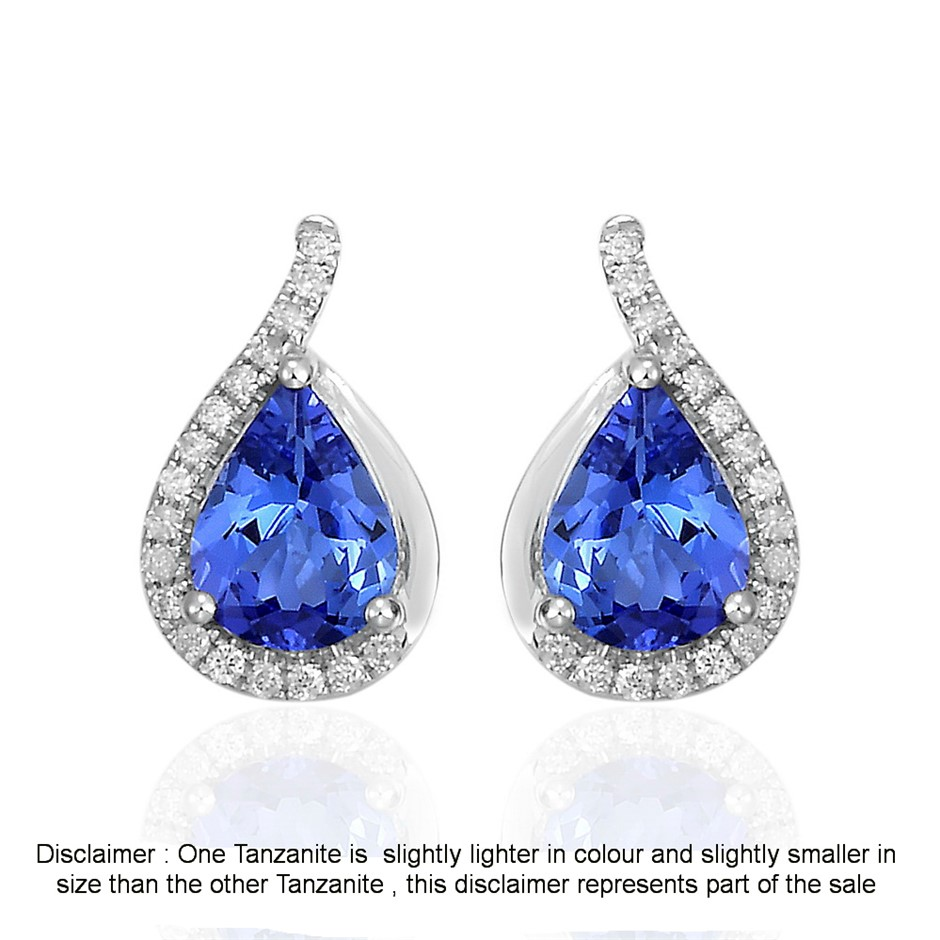 9ct White Gold, 2.12ct Tanzanite and Diamond Earring