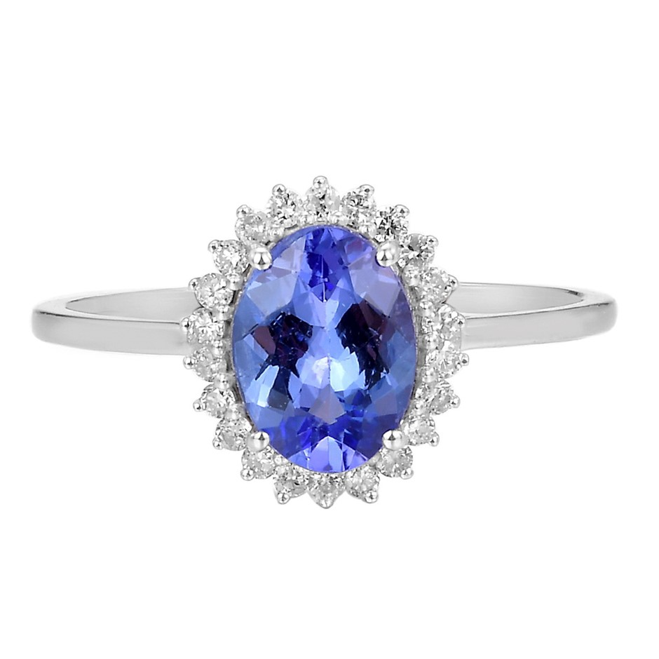 9ct White Gold, 1.34ct Tanzanite and Diamond Ring