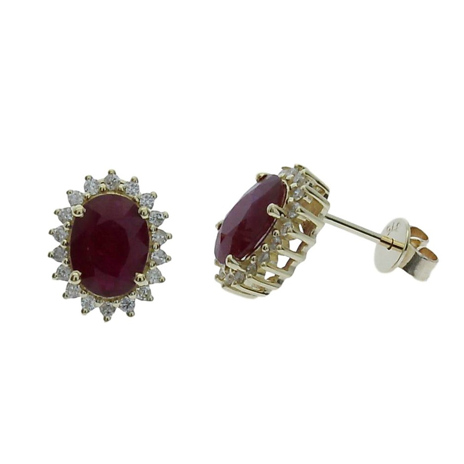 9ct Yellow Gold, 2.23ct Ruby and Diamond Earring
