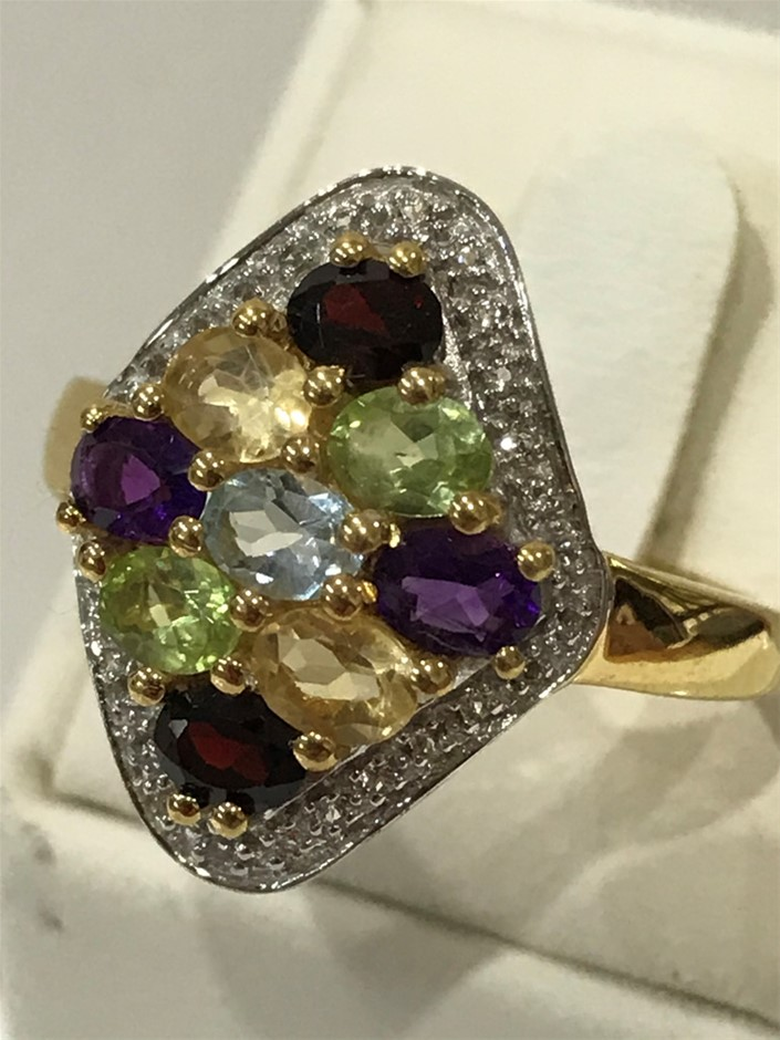 Glorious Multi Stone & Yellow/Gold Vermeil Ring. Size Q (8.25)