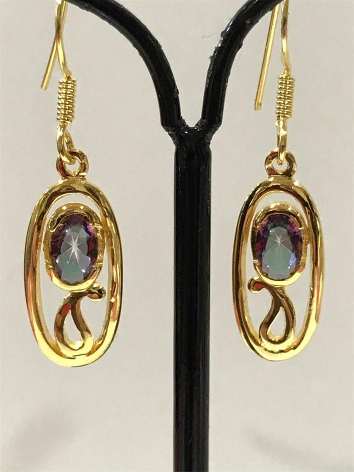 Beautiful Mystic Topaz & 18K Y/Gold Vermeil Drop Earrings