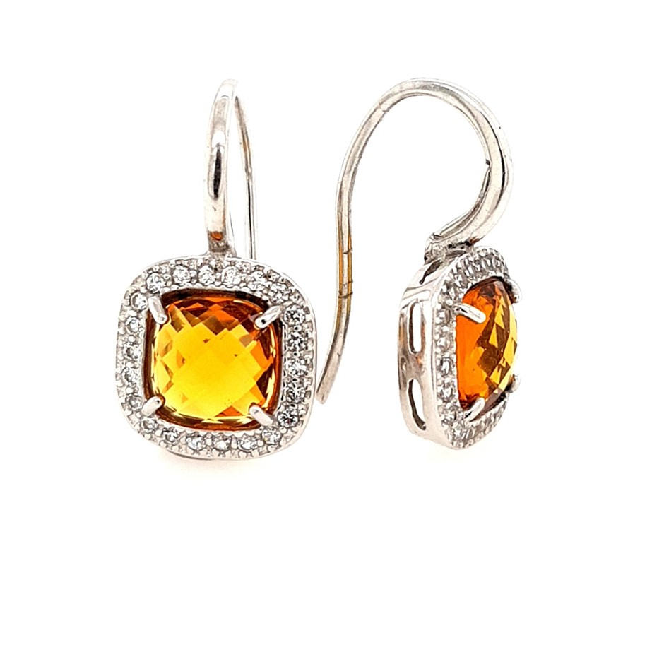 Sterling Silver Citrine & White CZ Halo Chequerboard Earrings.