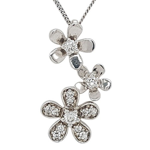 Sterling Silver White CZ Floral Drop Necklace.