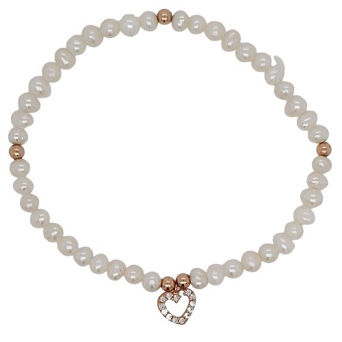 BELLE R/Gold Plate with CZ Heart Freshwater Pearl Bracelet.