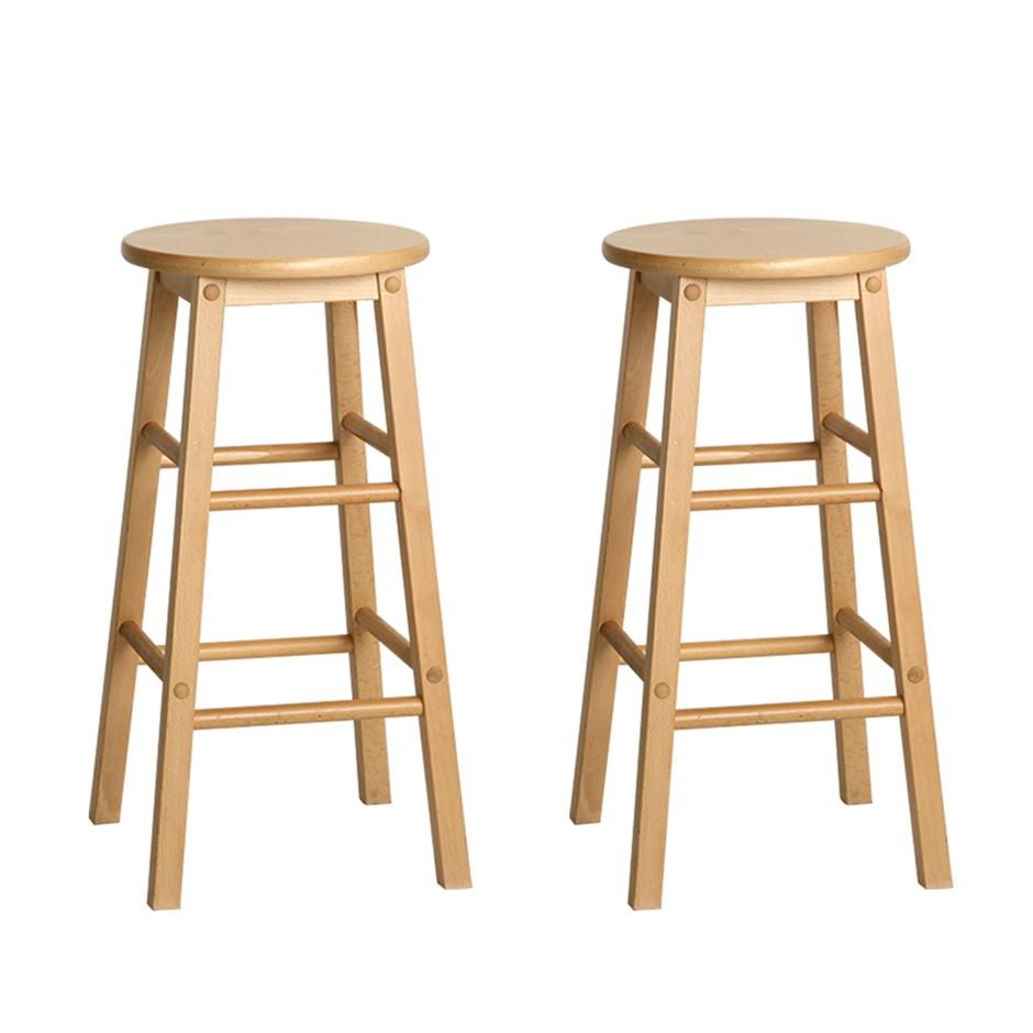 Artiss 2 x Wooden Bar Stools Bar Stool Dining Chairs Kitchen Nature