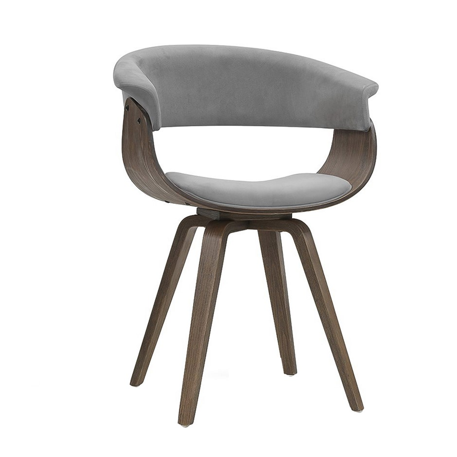 Artiss Dining chairs Bentwood Chair Velvet Fabric Timber Wood Retro Grey