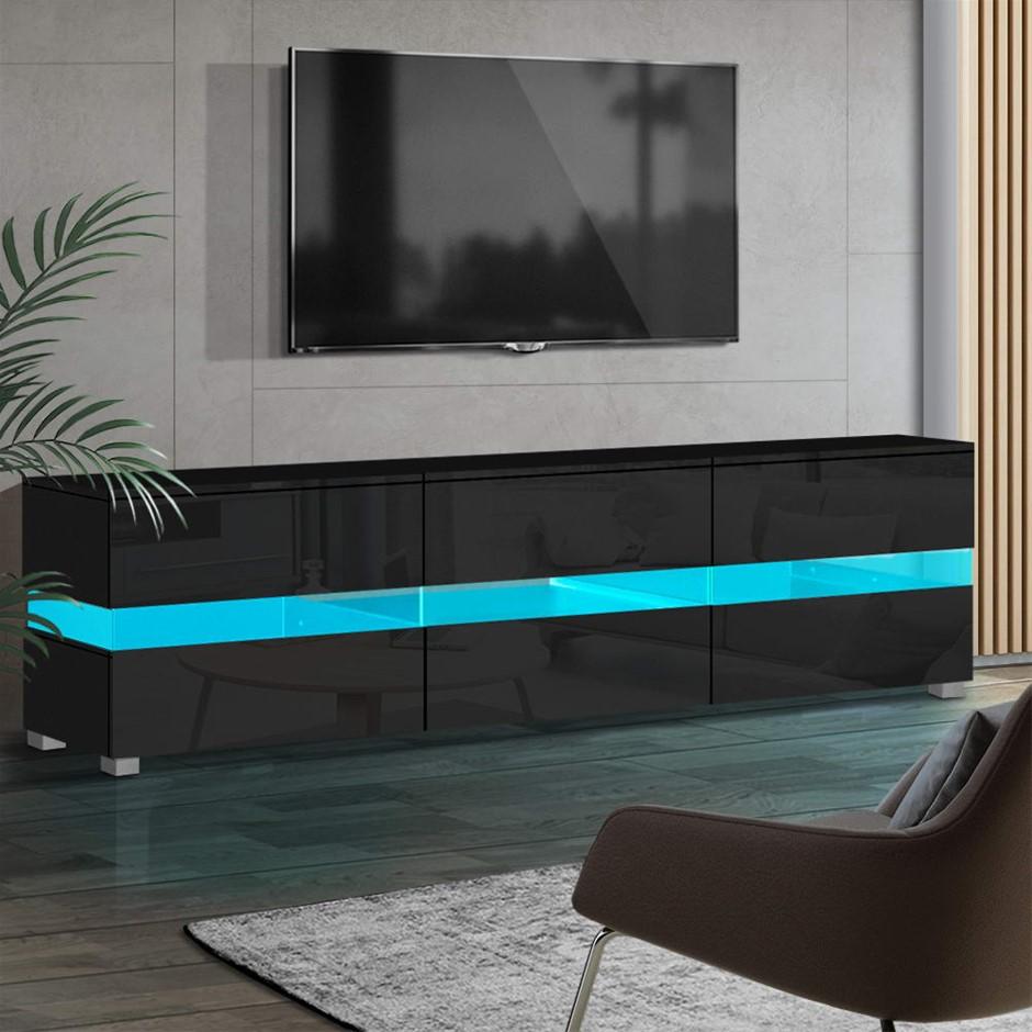 Artiss TV Cabinet Entertainment Unit Stand RGB LED Gloss 177cm Black