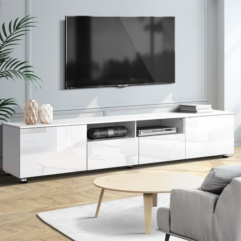 TV Cabinet Entertainment Unit Stand High Gloss Furniture 205cm White