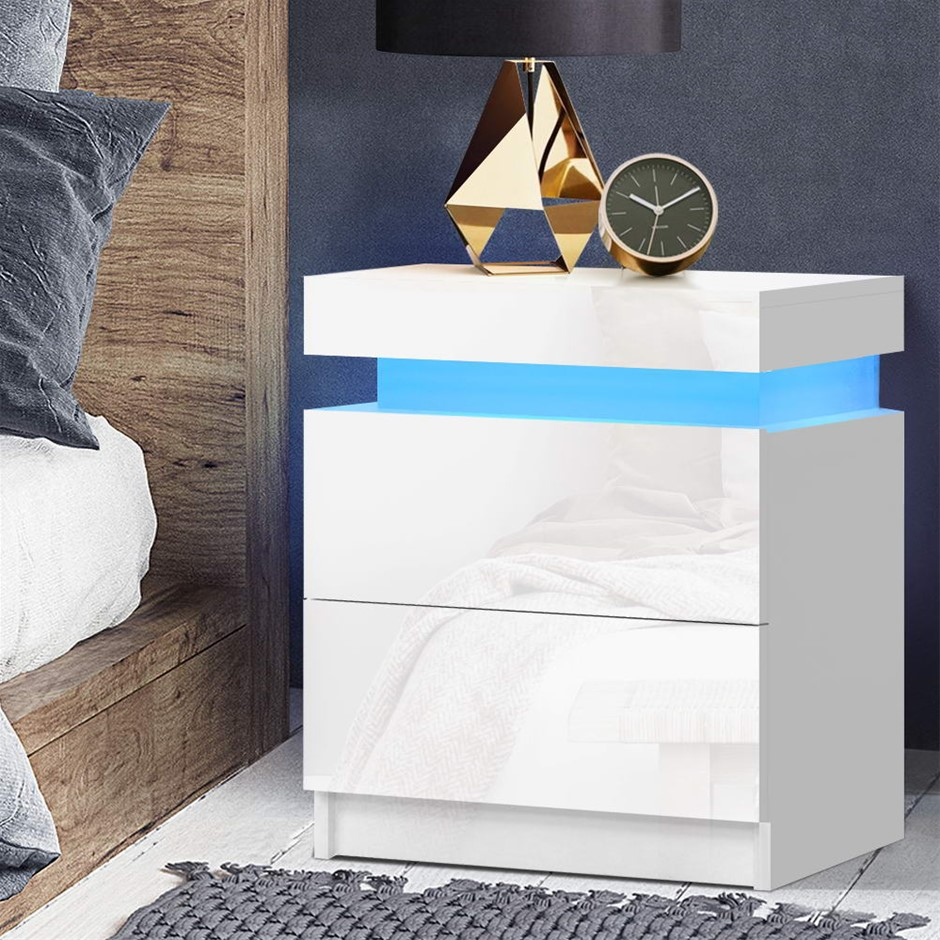 Artiss Bedside Tables Side Table RGB LED High Gloss Nightstand White