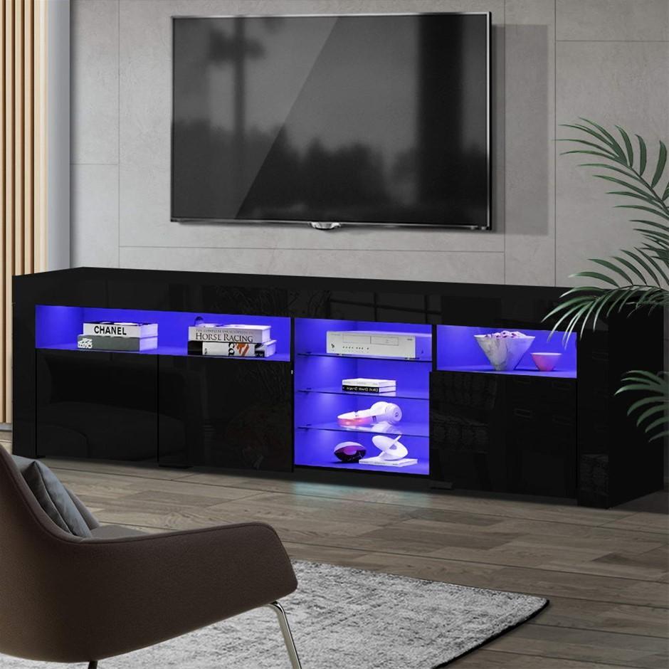 Artiss TV Cabinet Entertainment Unit Stand RGB LED Gloss 3 Doors 180cm