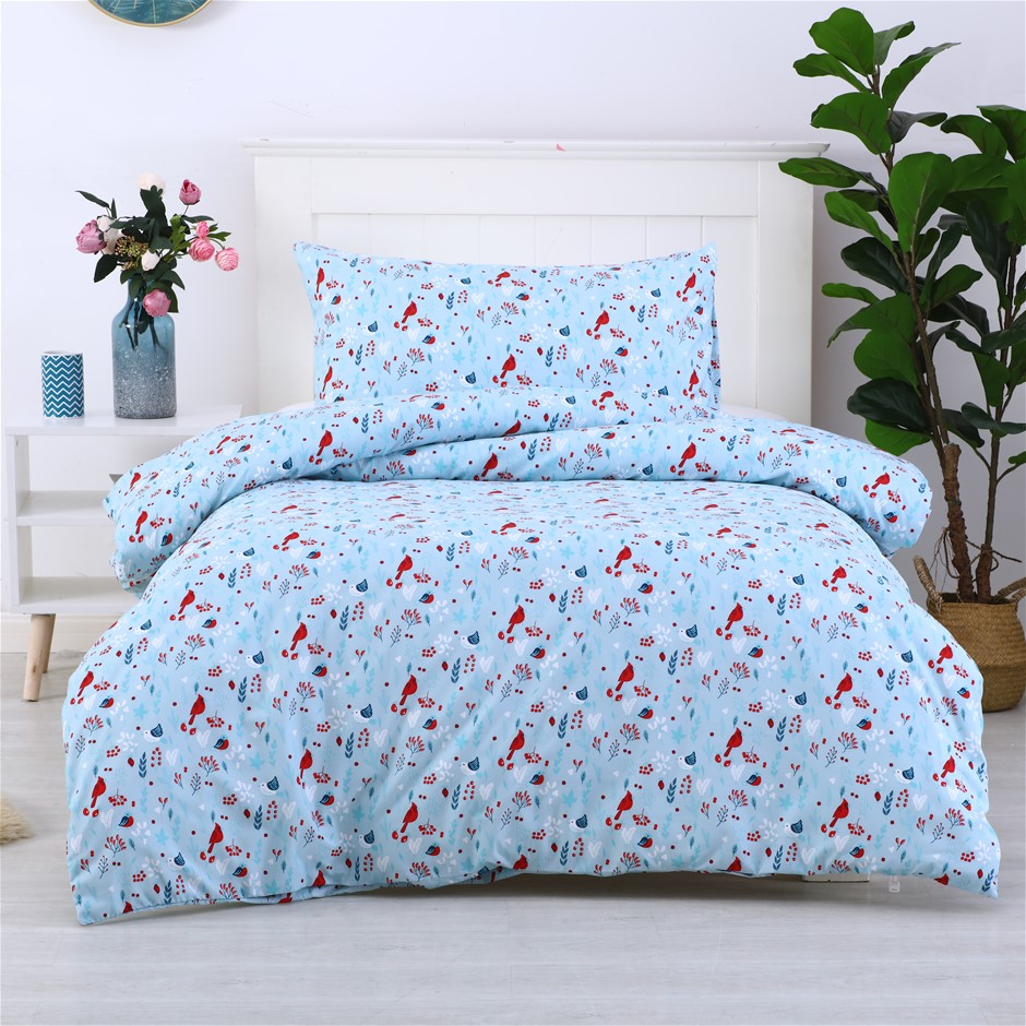 Dreamaker Printed Quilt Cover Set Little Red Birds - King Single Bed