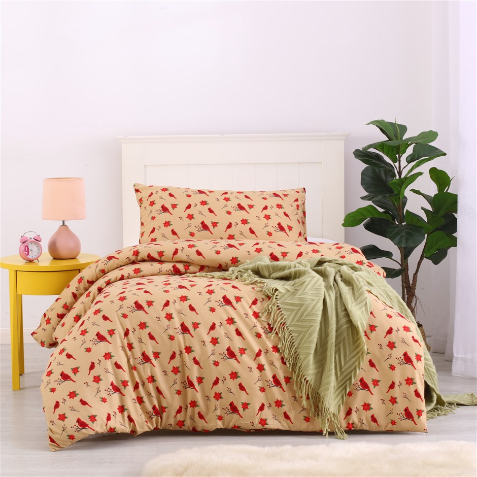 Dreamaker Printed Quilt Cover Set Tan Red Bird - Single Bed