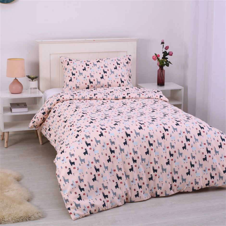 Dreamaker Printed Quilt Cover Set Blush Llamas - Single Bed