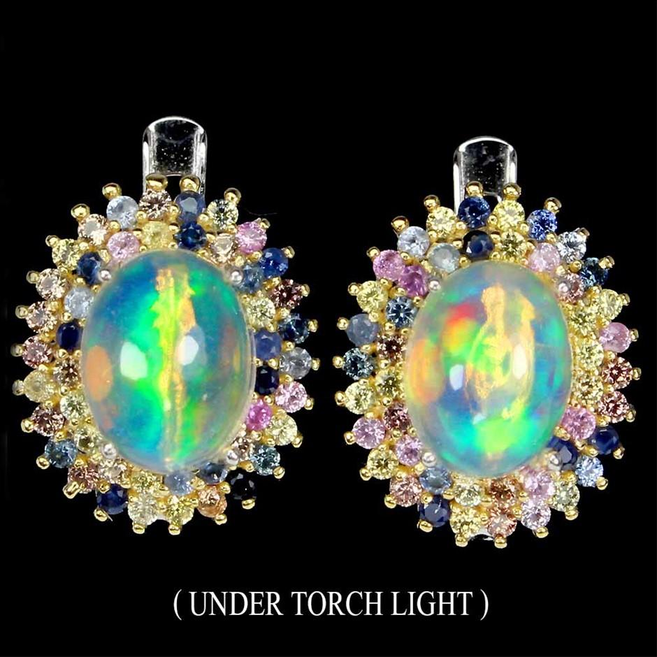Striking Genuine Rainbow Fire Opal and Sapphire Earrings