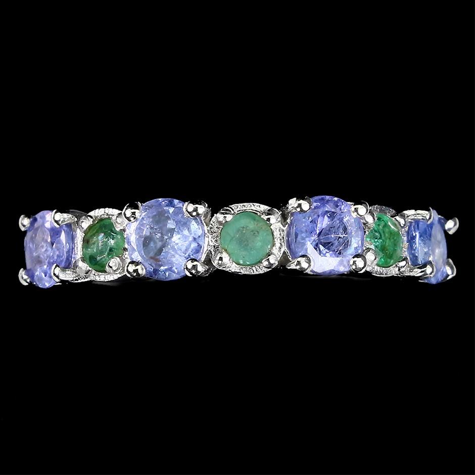 Beautiful Genuine Tanzanite & Emerald Ring