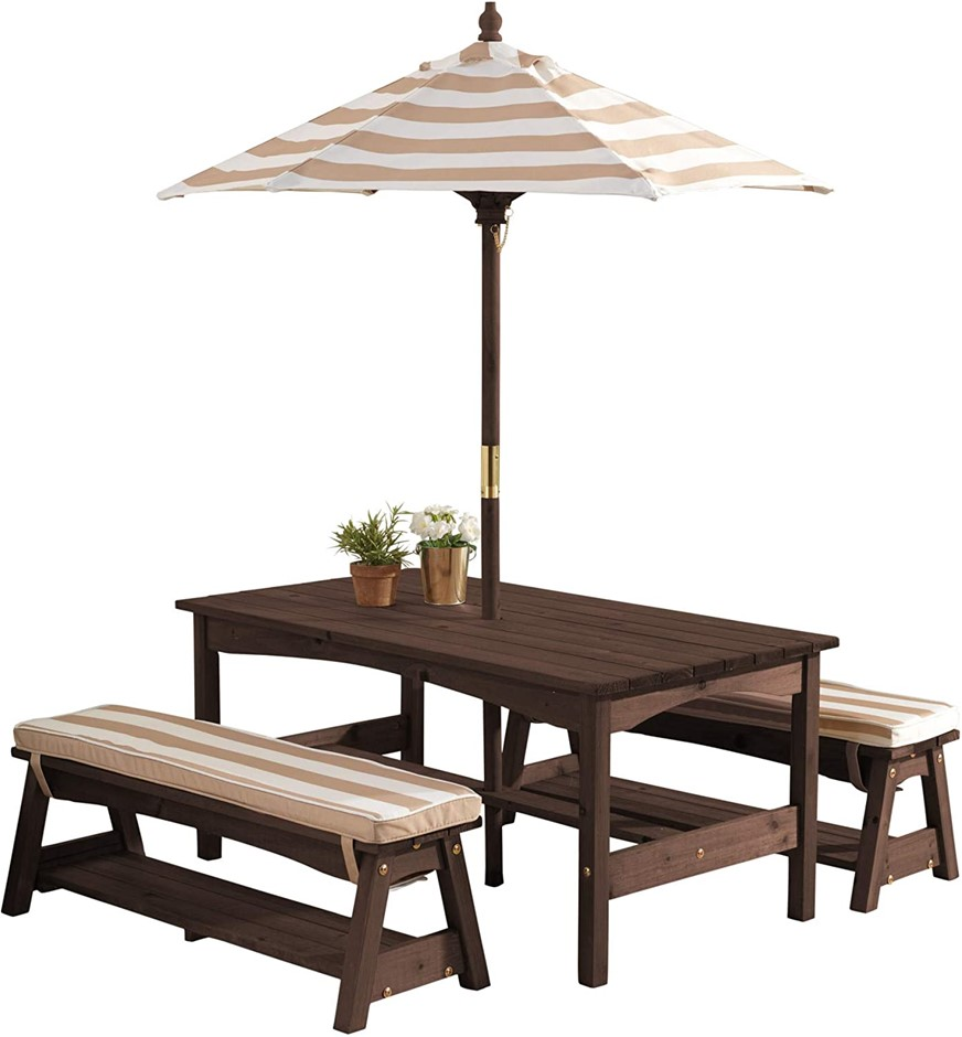KIDCRAFT Outdoor Table & Bench Set with Cushions & Umbrella, Color Oatmeal