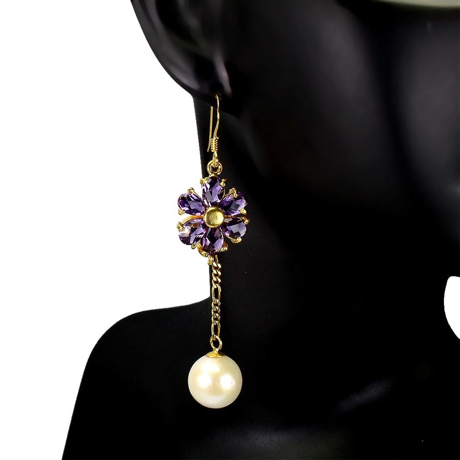 Beautiful Genuine Amethyst & Pearl Drop earrings.