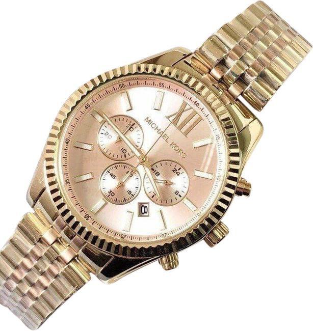 Unisex unworn Michael Kors Couture 'Lexington' 2 tone gold plated watch.
