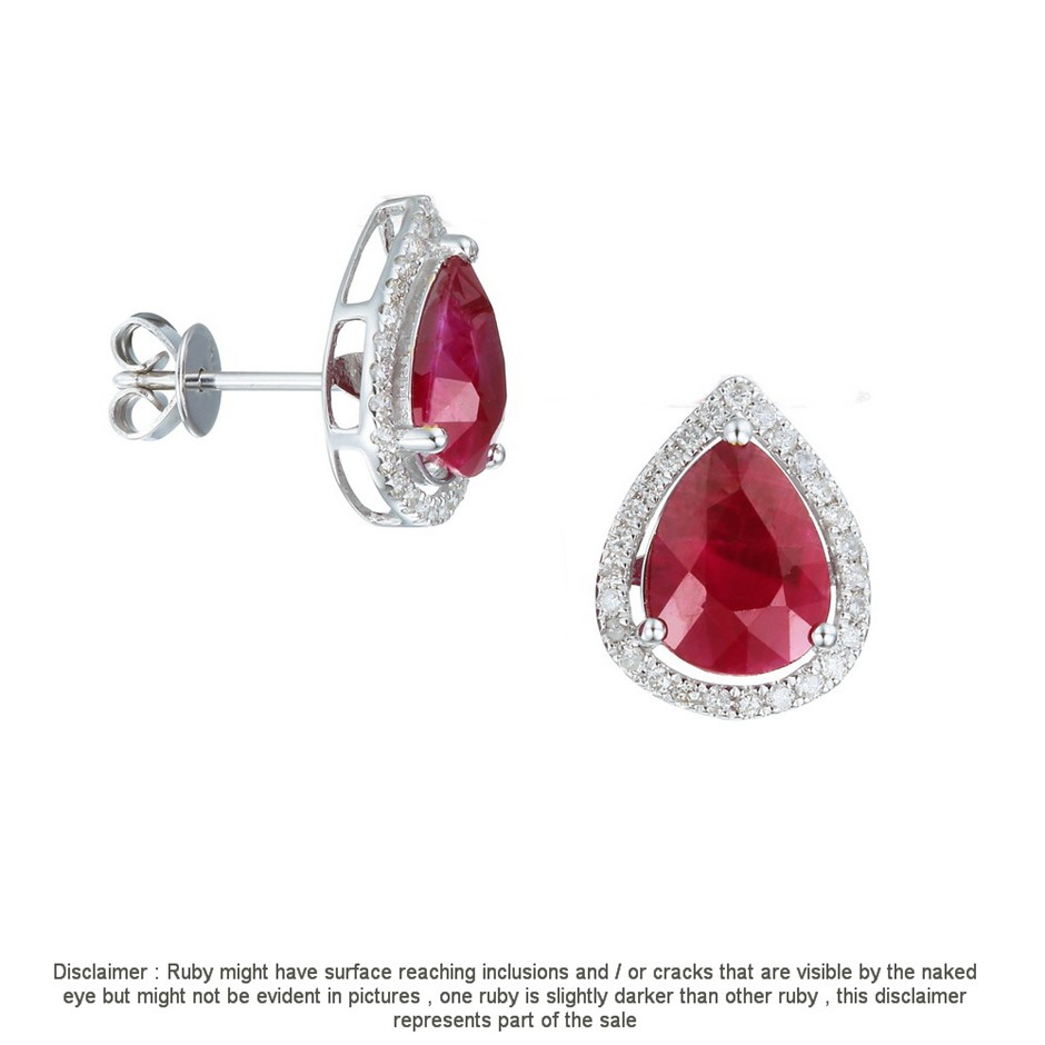 9ct White Gold, 3.57ct Ruby and Diamond Earring