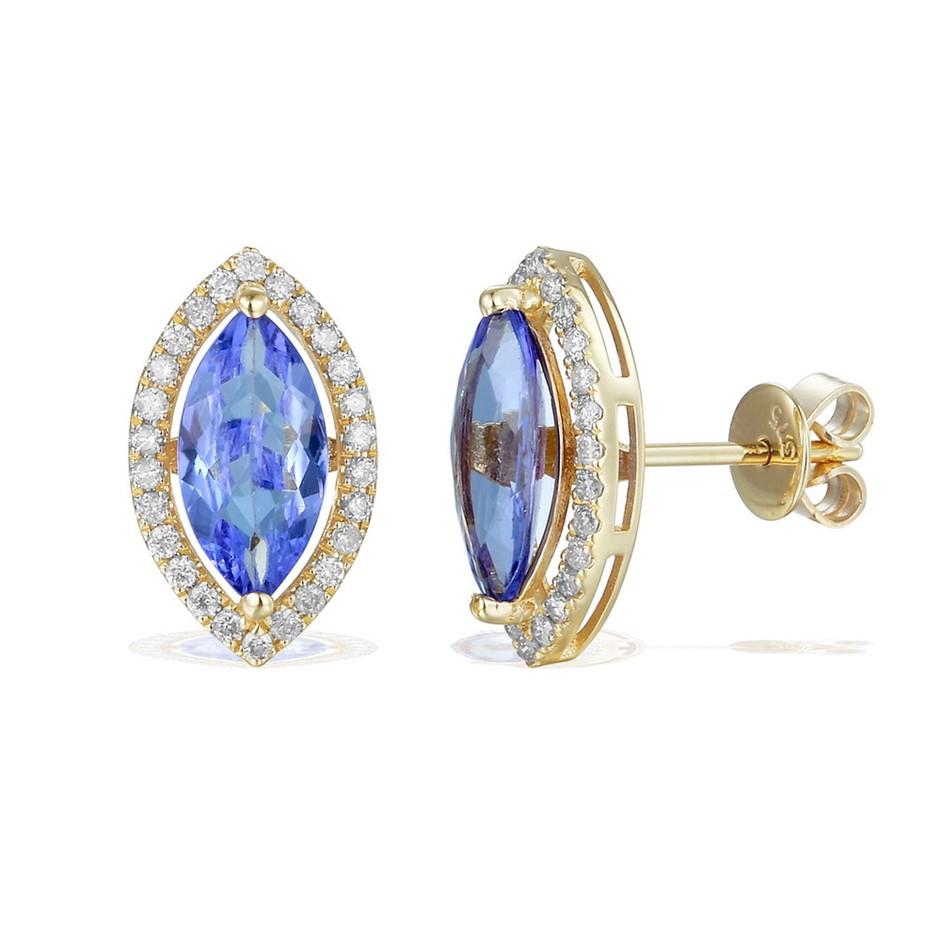 9ct Yellow Gold, 2.16ct Tanzanite and Diamond Earring
