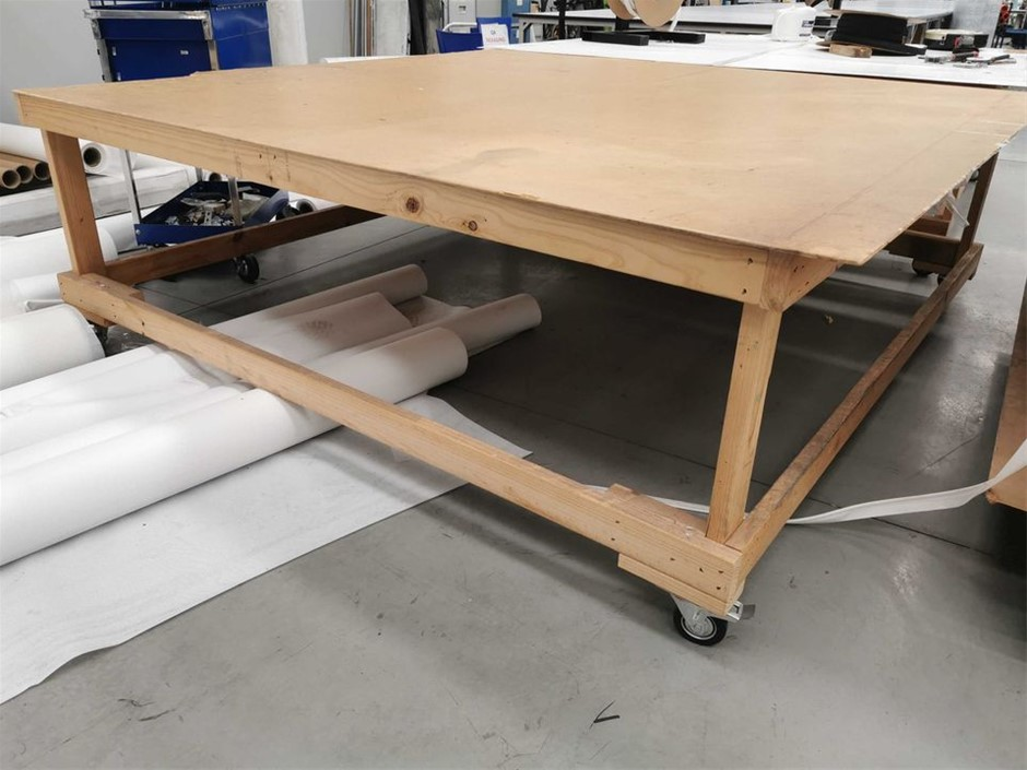 Wooden Table on Wheels