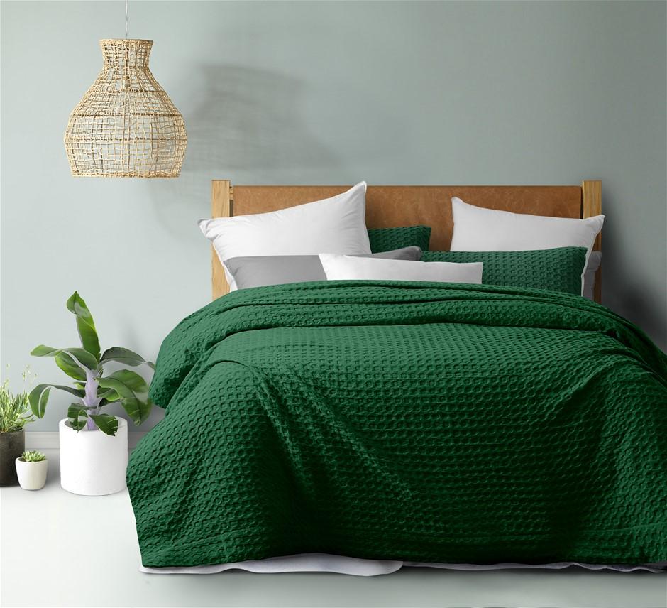 Dreamaker Cotton Waffle Quilt Cover Set Super King Bed Eden