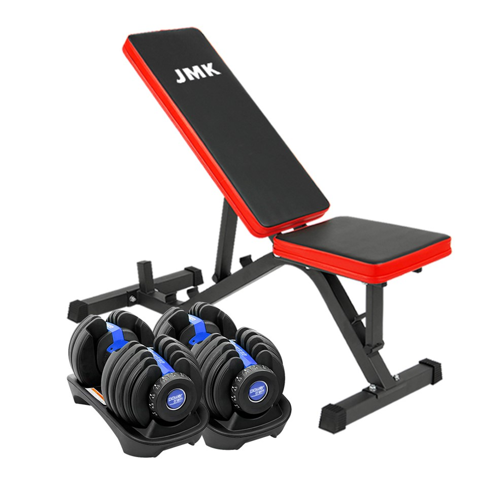 2x Powertrain 24kg Adjustable Dumbbell Home Gym w/ Exercise Bench Blue