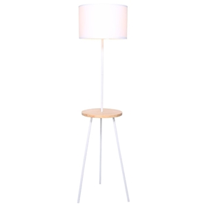 Metal Tripod Floor Lamp Shade with Woode