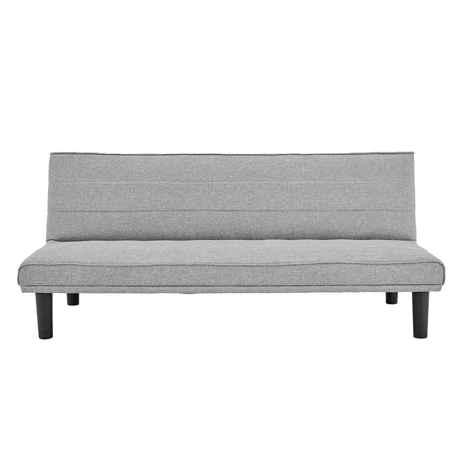 Sarantino 3 Seater Futon Modular Linen Sofa Bed Couch - Light Grey