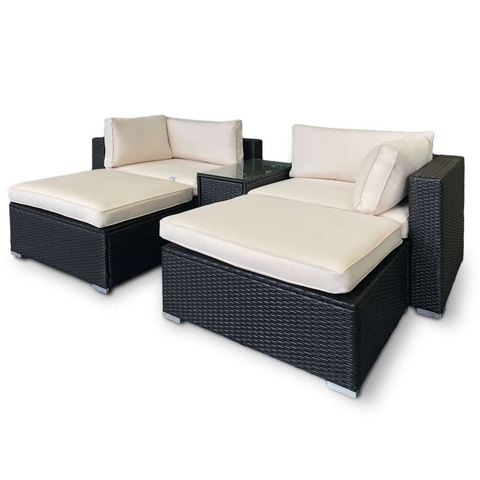Rattan Outdoor 5pc Chairs Ottoman Table Lounge Furniture Sofa Beige