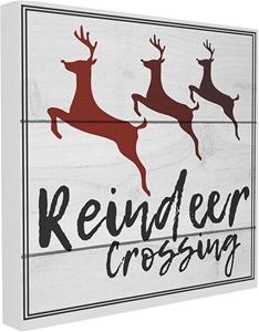 Reindeer Crossing Sign Canvas Wall Art,