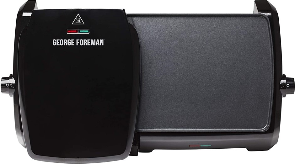 George Foreman GGR23450, Aluminium Grill and Griddle, 2-in-1 Besign, Black