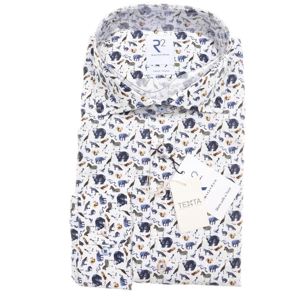 R2 AMSTERDAM Men`s LS Dress Shirt, Size 42 EU/ 16 1/2 UK, Stretch Cotton, C