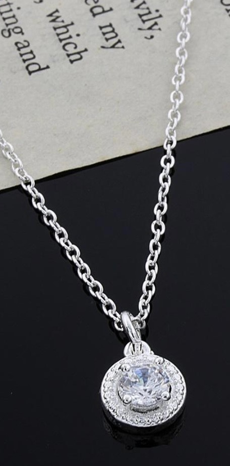 Ladies Sparkling Sterling Silver Crystal Necklace