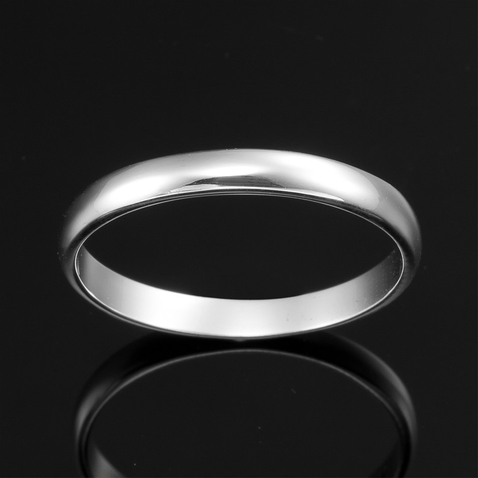 Solid 925 Sterling Silver Men's Band Ring - US Size 12
