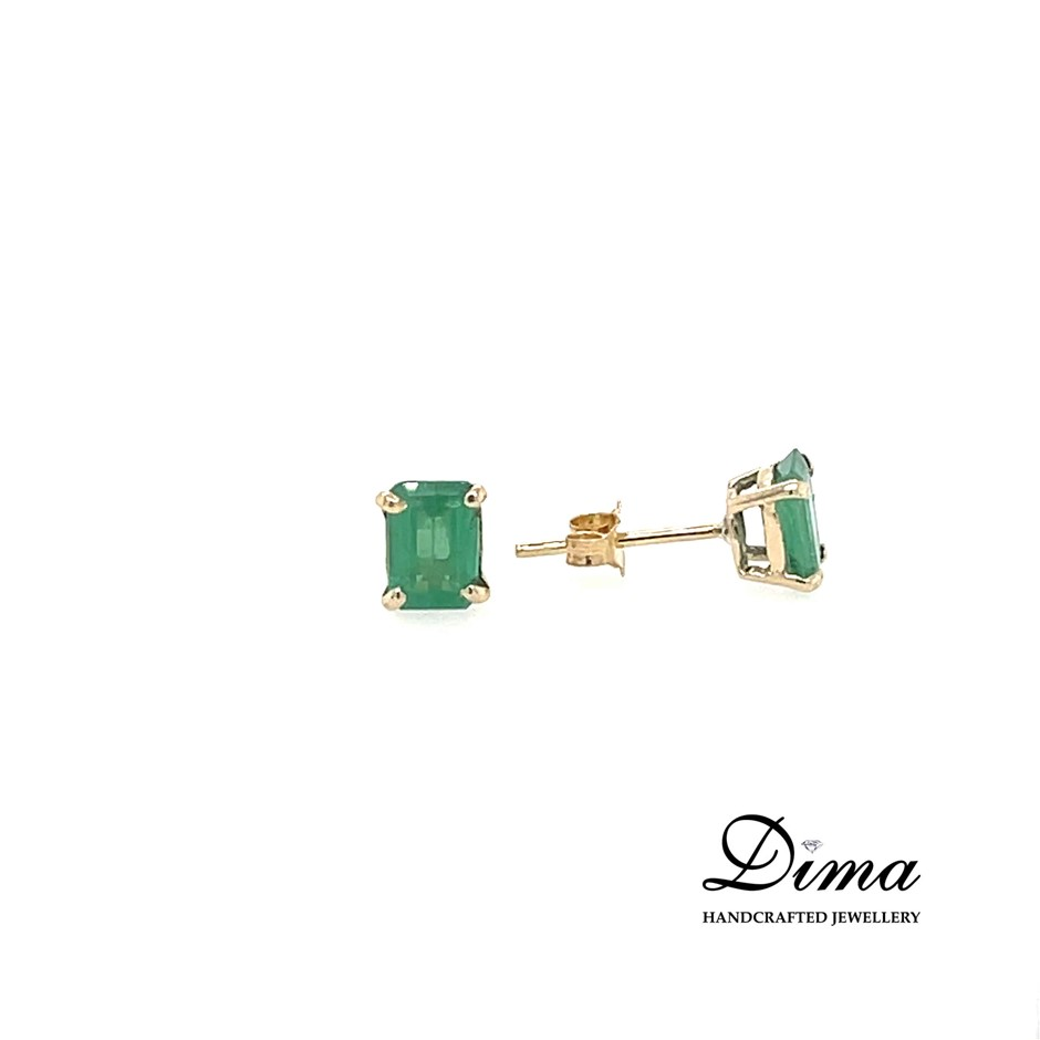 9ct Yellow Gold, 1.97ct Emerald Earring