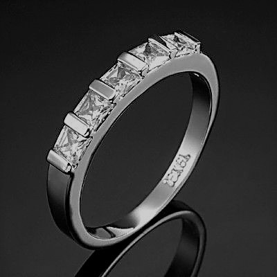 Stunning Rhodium Plated Simulated Diamond Band Ring - US Size 6