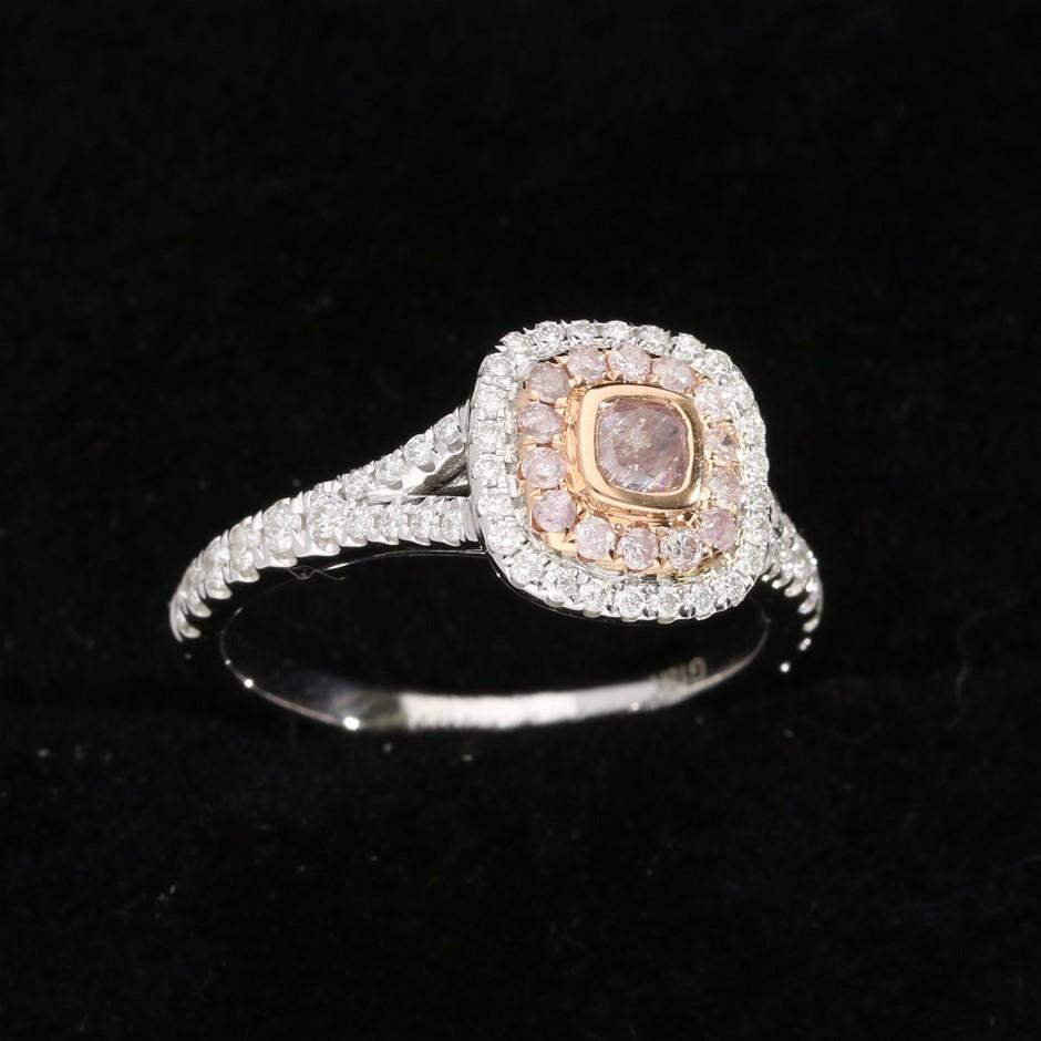 18ct White and Rose Gold, 0.85ct Diamond Ring