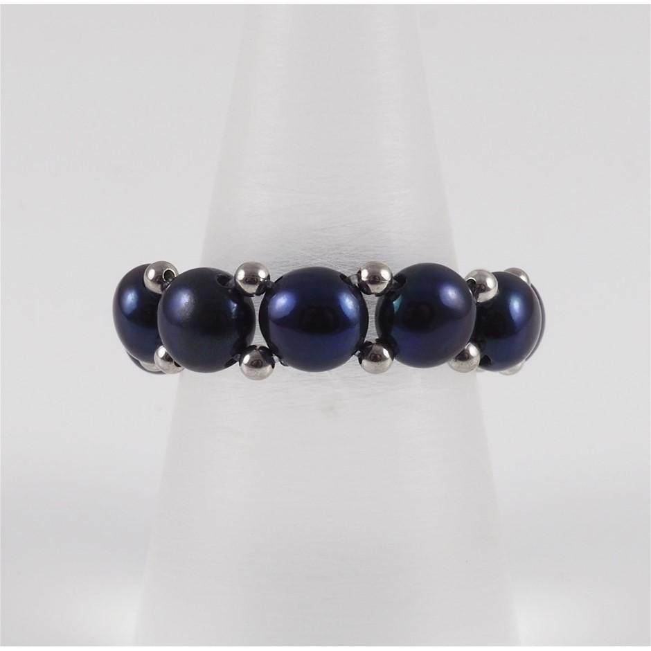 Black Freshwater Pearl & Sterling Silver Adjustable Ring
