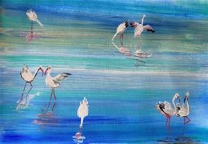 Flamingoes - Original paintedl artwork s