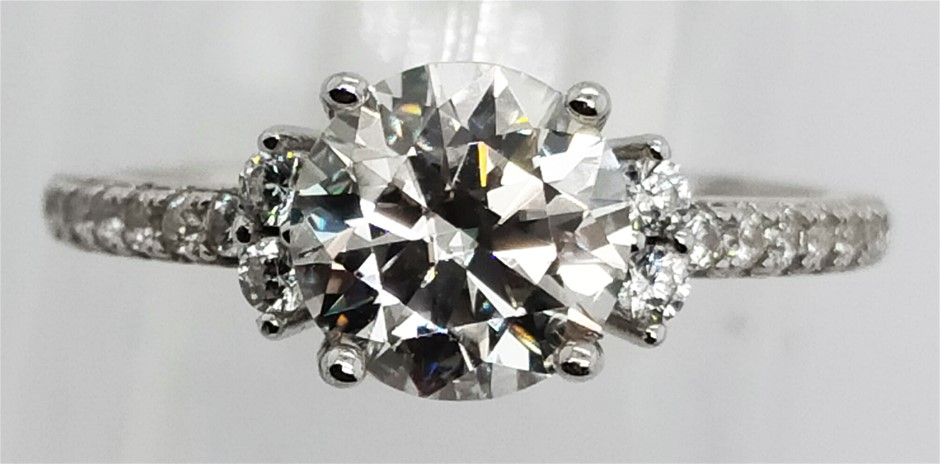 GRA Certified White Moissanite 1.86 Carats D - VVS1 Sterling Silver Ring