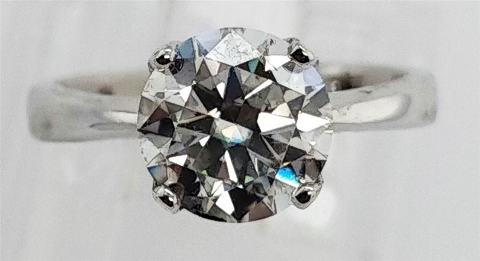 GRA Certified White Moissanite 1.78 Carats D - VVS1 Sterling Silver Ring