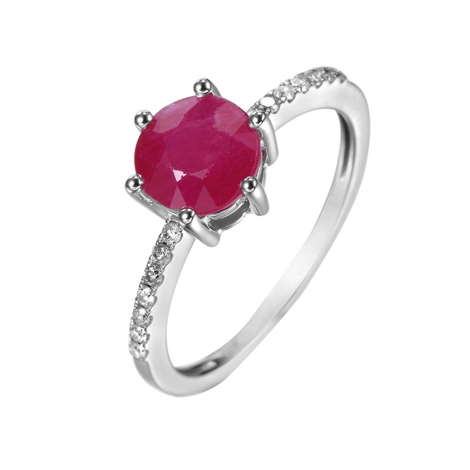 9ct White Gold, 1.23ct Ruby and Diamond Ring