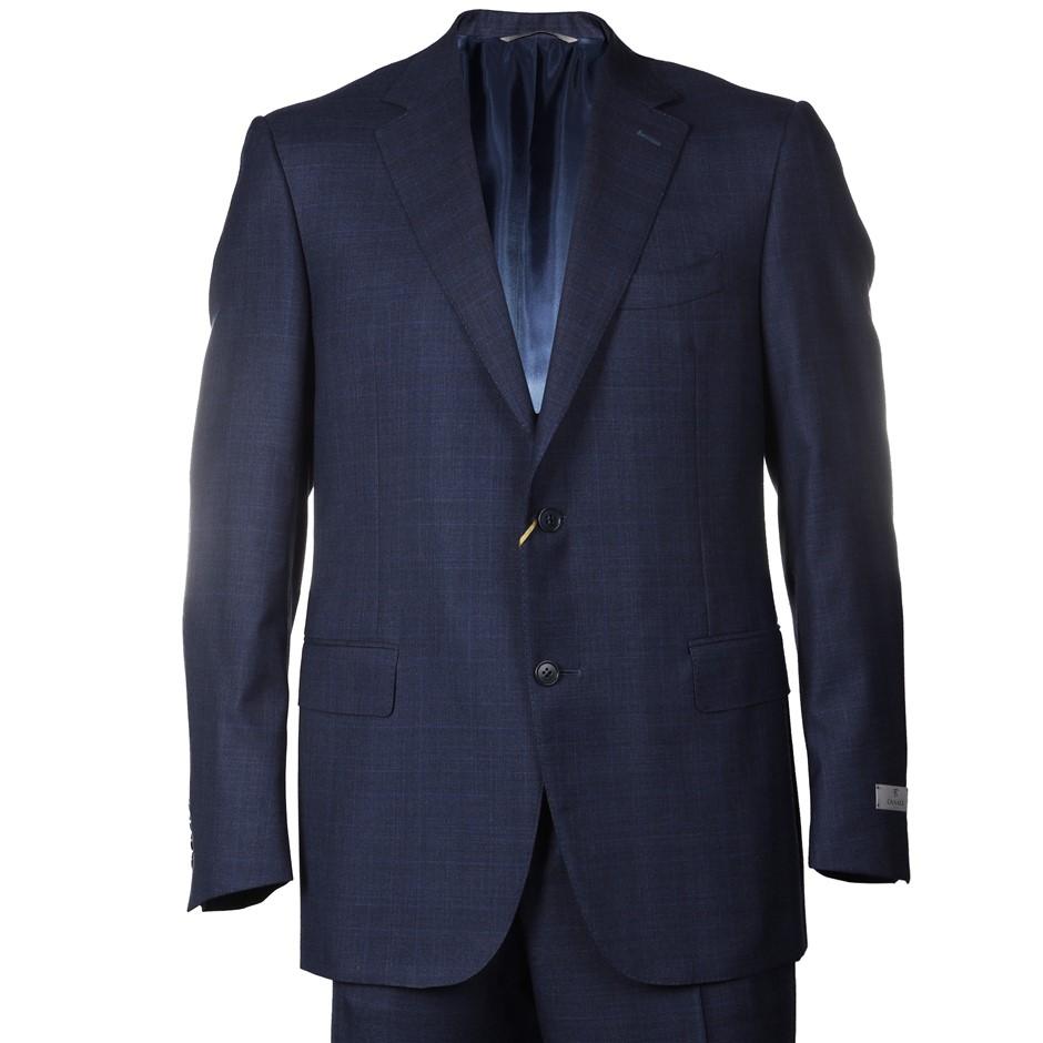 CANALI Men`s Suit, Size 48R, RRP $2695, 100% Wool, Colour: Navy Pattern. N.
